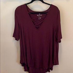 Never been worn burgundy American eagle shirt.